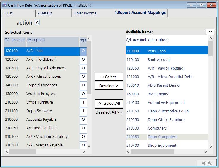 cash flow general ledger accounts