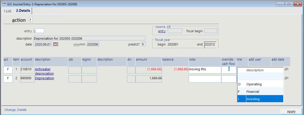 cash flow statement section